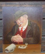 """G85: """"Nickerchen"""" älteres Ölbild Gemälde auf Hartfaserplatte vom F.Lumma ca.1950"""