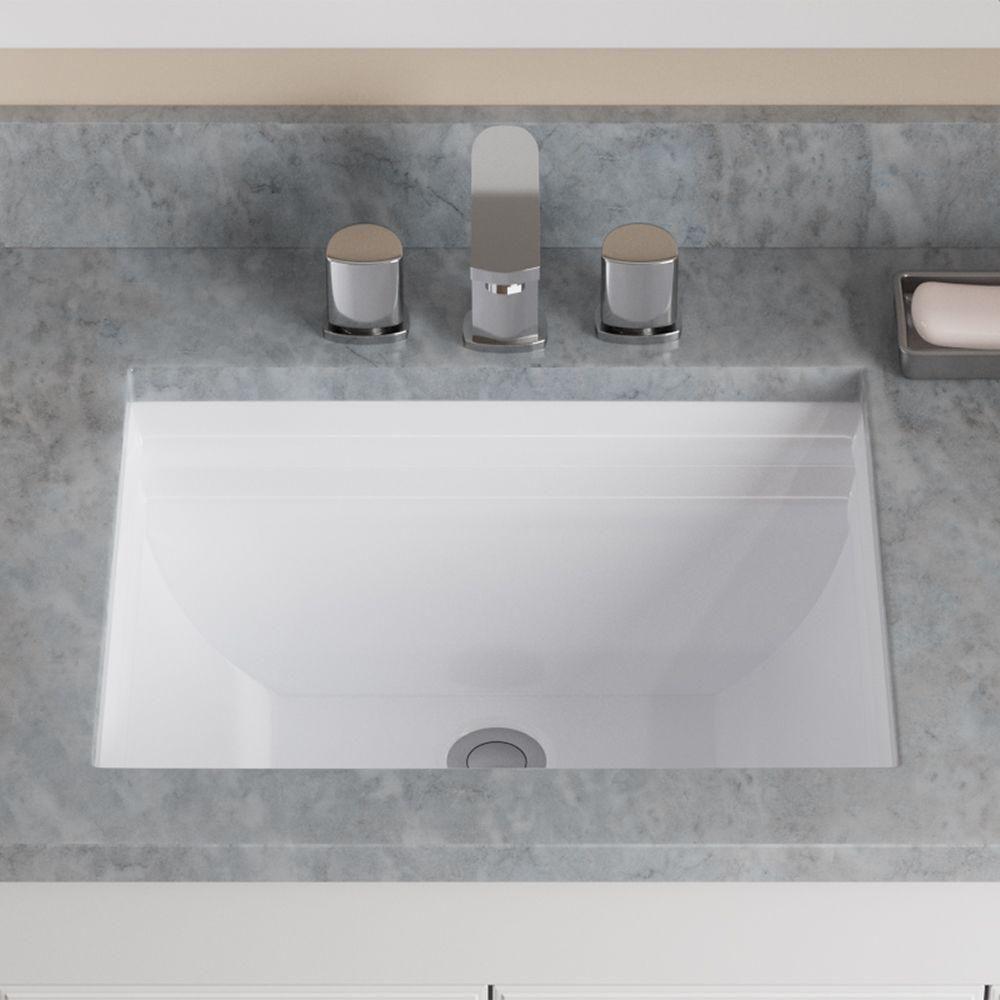 Mr Direct Undermount Porcelain Bathroom Sink In White U2450 W