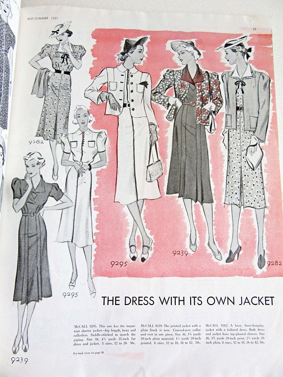 Vintage Sewing Pattern Catalog McCall Fashion Book Mid-Summer 1937 ...