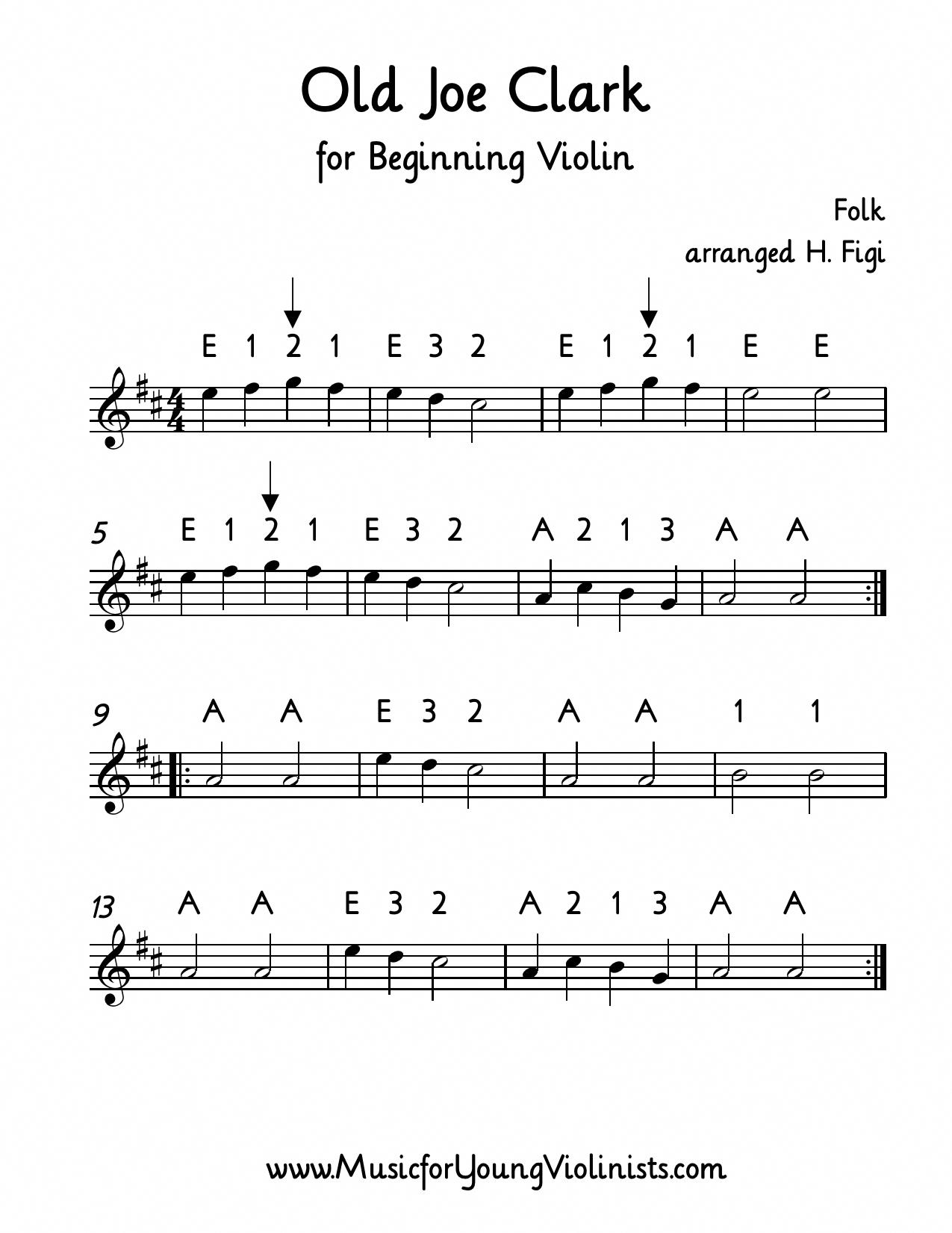 FIDDLE MUSIC: Old Joe Clark for beginning violin (sheet music PDF
