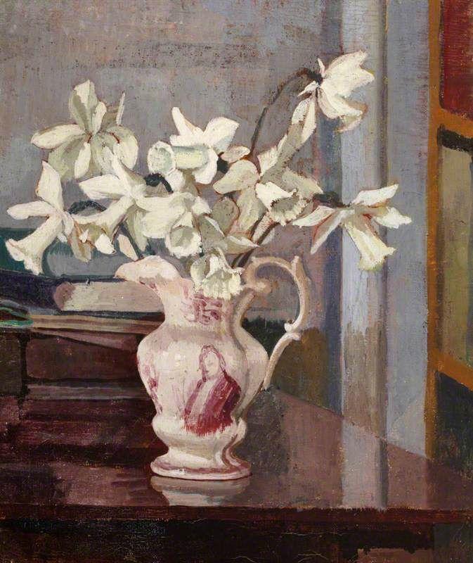 White Daffodils in a Ceramic Jug - Angelica Garnett | bloomsbury etc ...