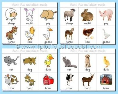 Farm Fun Printables Free Farm Animals Pictures Animal Matching Game Farm Animals Preschool