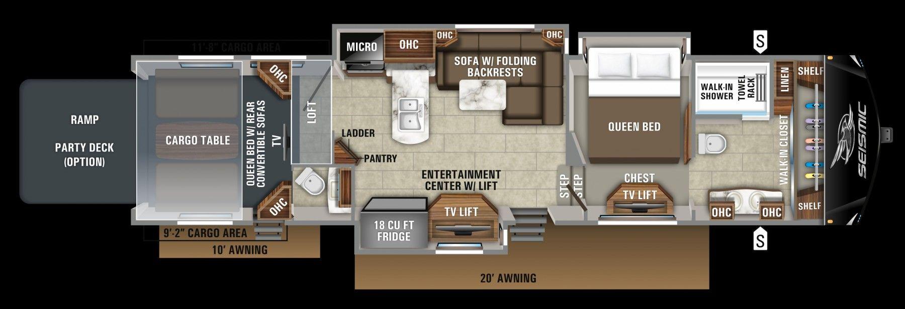 2019 Jayco Seismic 4250 Forward Bathroom Rv Floor Plans Floor Plans Toy Hauler