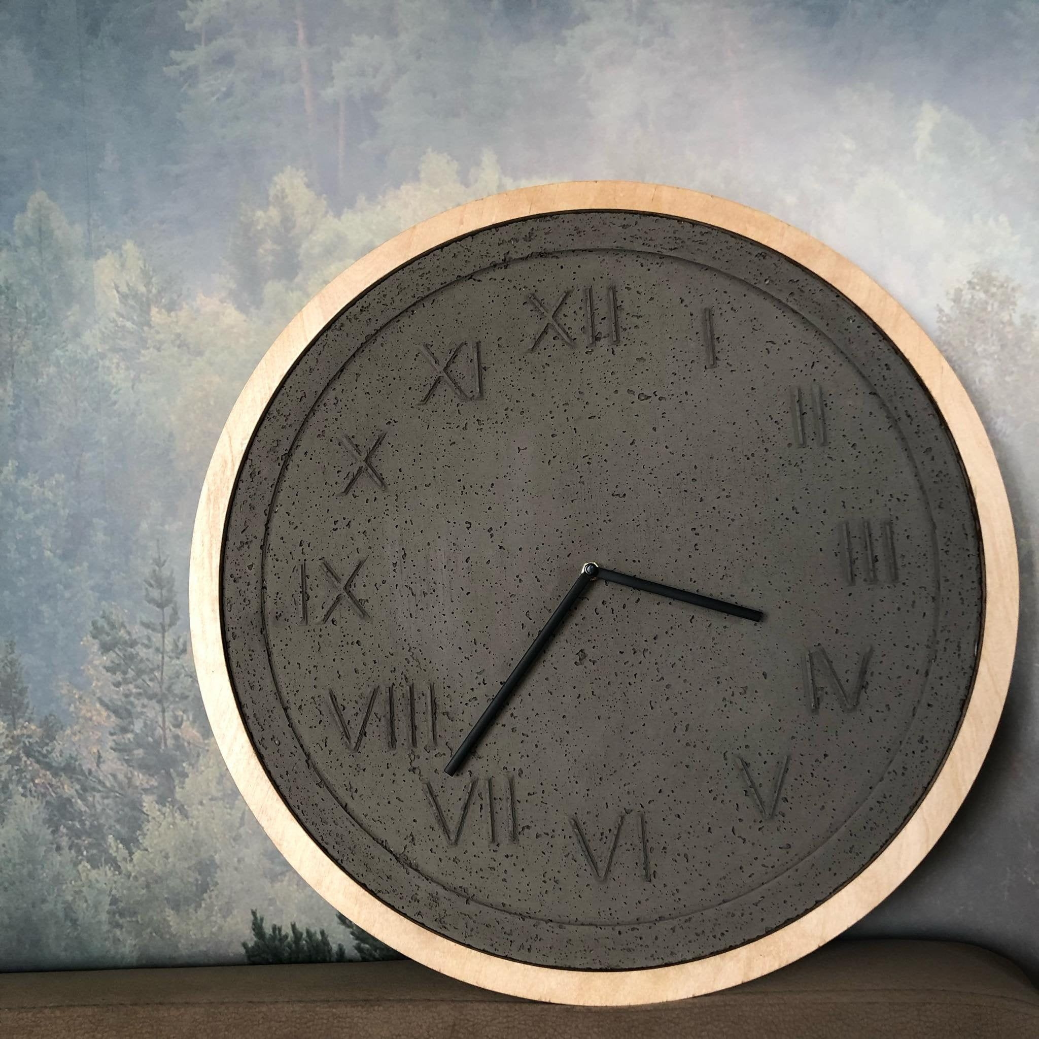 Concrete Clock Wall Clock Concrete Wooden Large Wall Clock Wood Concrete Clock Unique Wall Clock Modern Wall Clock Handmade Clock Unique Wall Clocks Wall Clock Modern Wall Clock