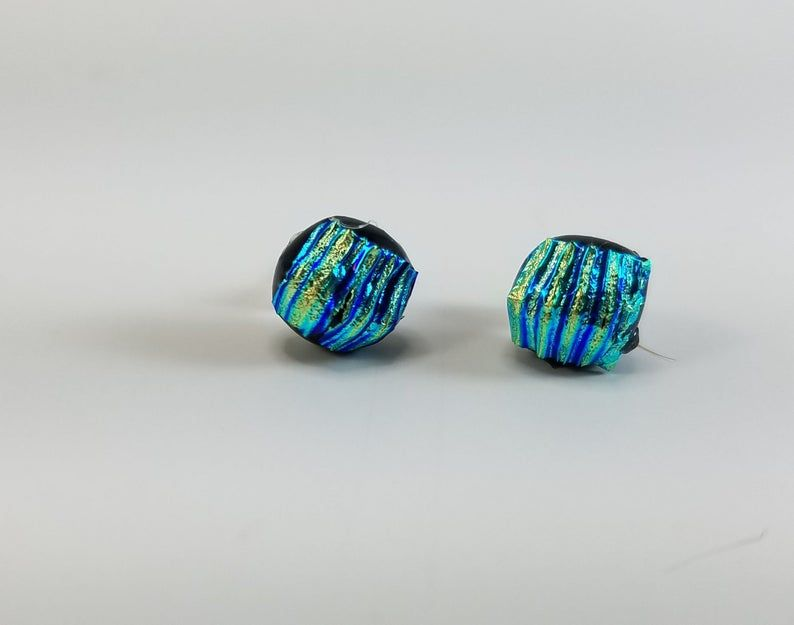 Dichroic Glass Bracelet /& Earring Set Square Smokey Gray