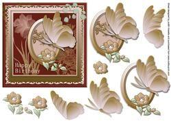 Framed Butterfly en Flower Verjaardag Voorzijde