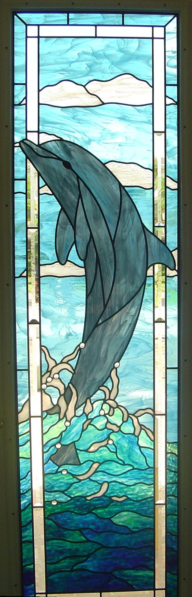 ambient stained glass dolphin rising