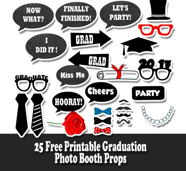 picture about Photo Props Printable known as Cost-free Printable Commencement Photograph Booth Props Commencement