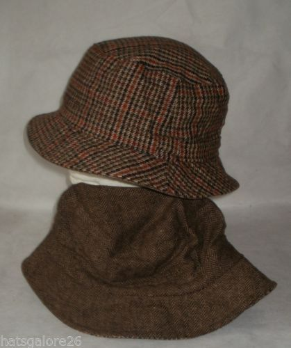 ac54b8a17 Details about MENS TWEED BUCKET HAT REVERSIBLE TO GREY OR BROWN ...