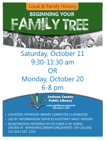 THIS PROGRAM HAS EXPIRED -- Have you ever wanted to start a family tree but didn't know how to begin?  Join us for an introduction to genealogy using library materials and online resources.  Bring photos, dates & other information to get started.