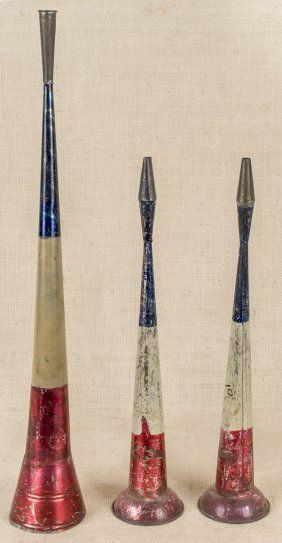 Three Patriotic Painted Tin Horns, Longest - 24 1