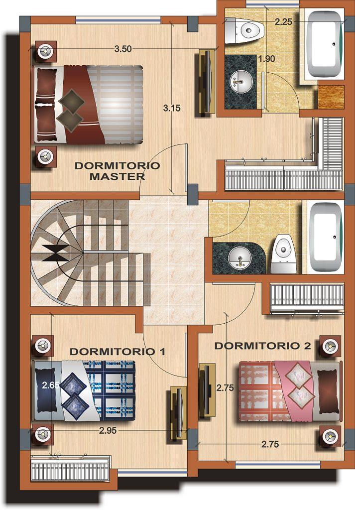Casa Tipo B Planta 2 Casas De Dos Pisos Planos De Casas Medidas Planos De Casas
