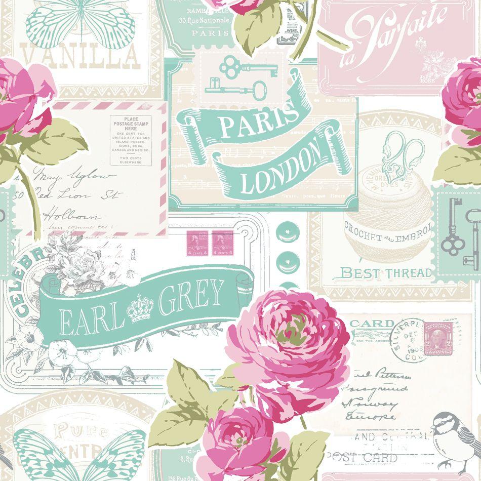 Paris Bedroom Wallpaper Floral Wallpaper Rose Postcard Modern Retro Pinterest Pink