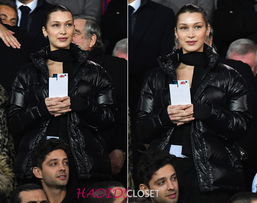 399c8f830 March 6, 2018 - Bella Hadid Attends The PSG vs. Real Madrid Football ...