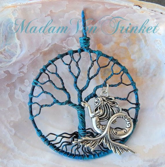 Steampunk Patina Copper Wire Wrapped Tree of Life with Mermaid ...