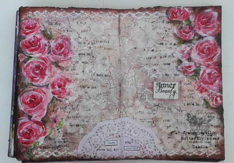 Art journal and Mixed Media projects: Love yourself-An art journal spread #artjournalmixedmediainspiration