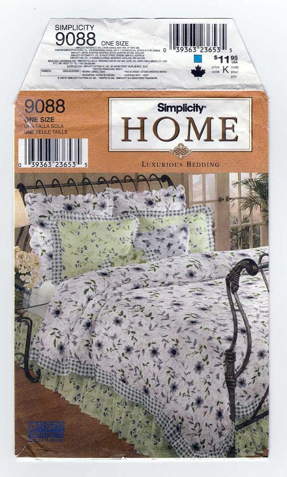 Simplicity 9088 Bedding Sewing Pattern For Twin Full Queen Or King Size Bed Duvet Cover Dust Ruffle Pi Duvet Cover Pattern Patterned Bedding King Size Bed