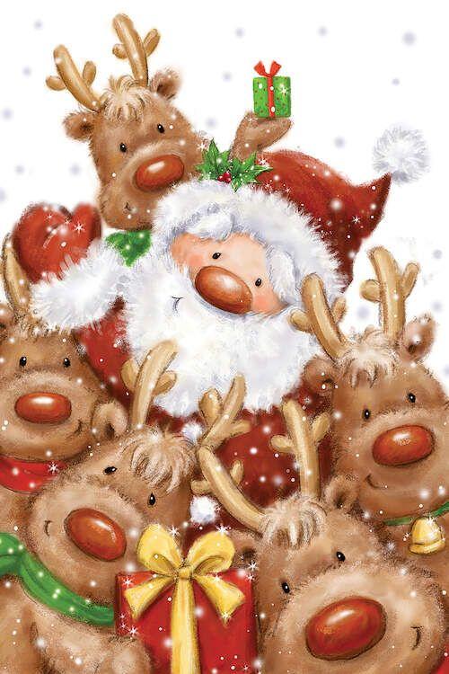 Santa and Reindeers Canvas Art by MAKIKO   iCanvas