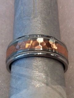 Very Handsome Hammered Wedding Ring For A Man Rose Gold Center Milgrain Detail Base Made In Cobalt Chrome