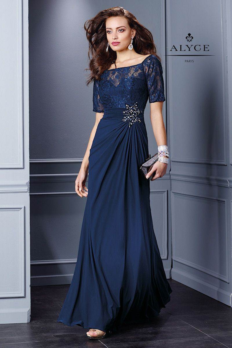 I just LOVE this! Elegant Evening Gown with Lace Short Sleeves ...