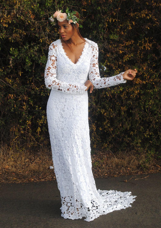 Cheap boho wedding dresses  BOHO WEDDING DRESS Simple Crochet Lace By Dreamersandlovers