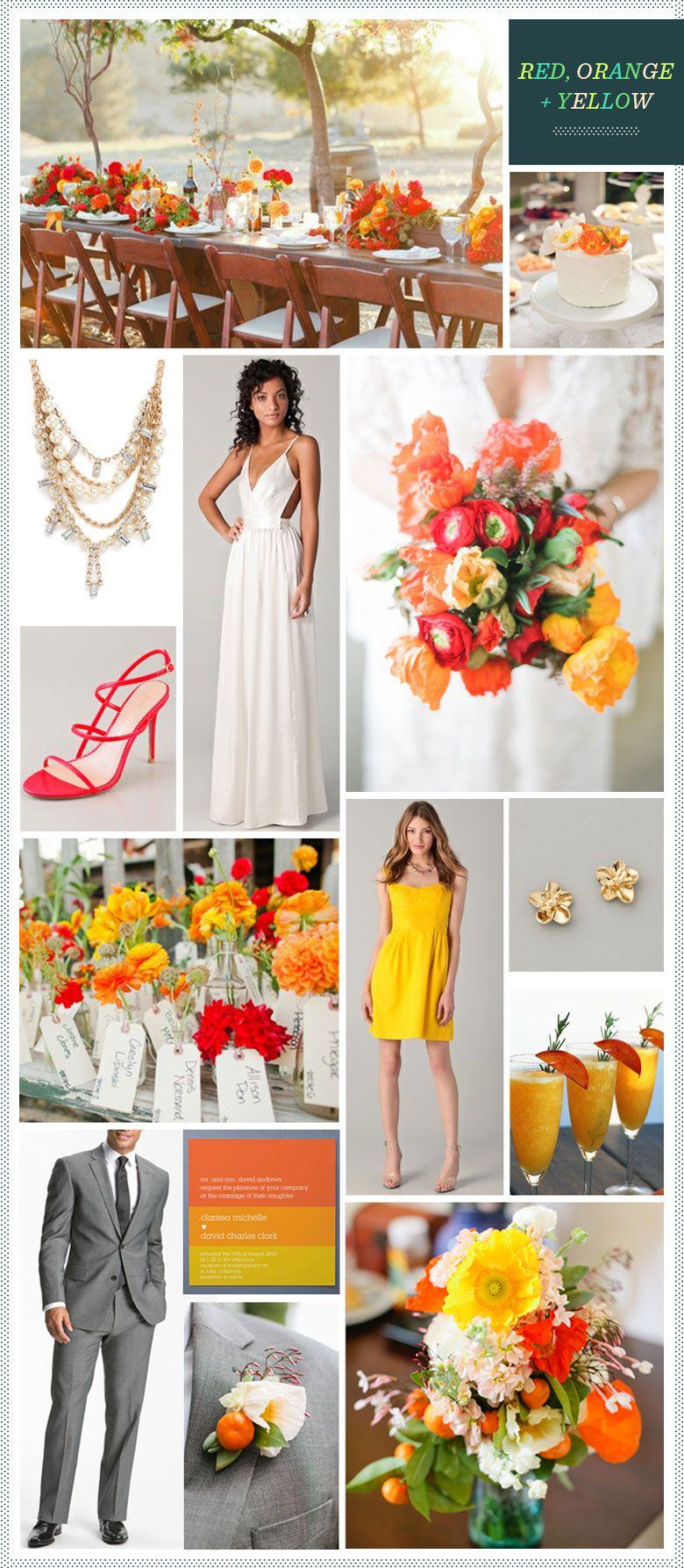 red, orange, yellow. | orange yellow weddings, summer