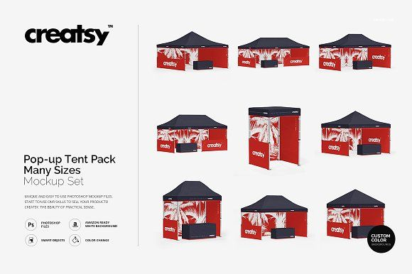 Pop Up Tent Pack Many Sizes Mockup Pop Up Tent Business Card Logo Tent