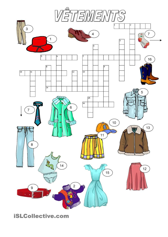 b678ff95d5eec Vêtements - mots croisés Verbe Conjugaison, Verbes, Mots Croisés, Fiches  Pédagogiques, École