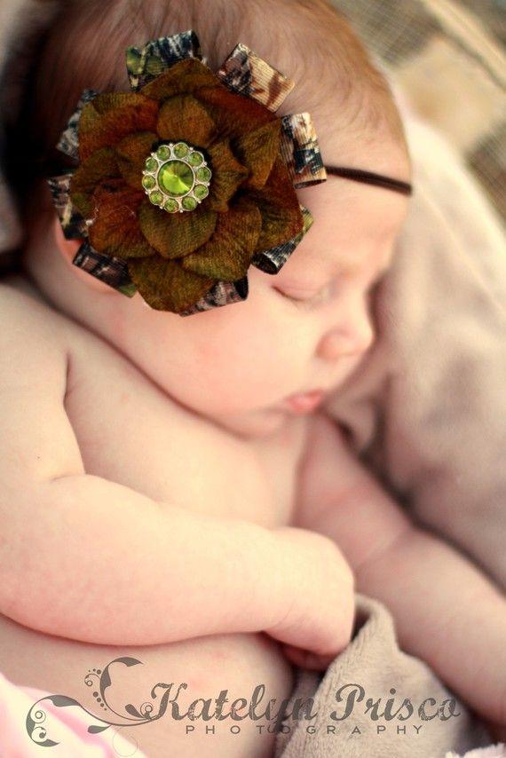 Items similar to New Mossy Oak BREAK UP Camo Green Flower Skinny Headband  on Etsy. Camo StuffBaby Girl ... fdfb2f90750