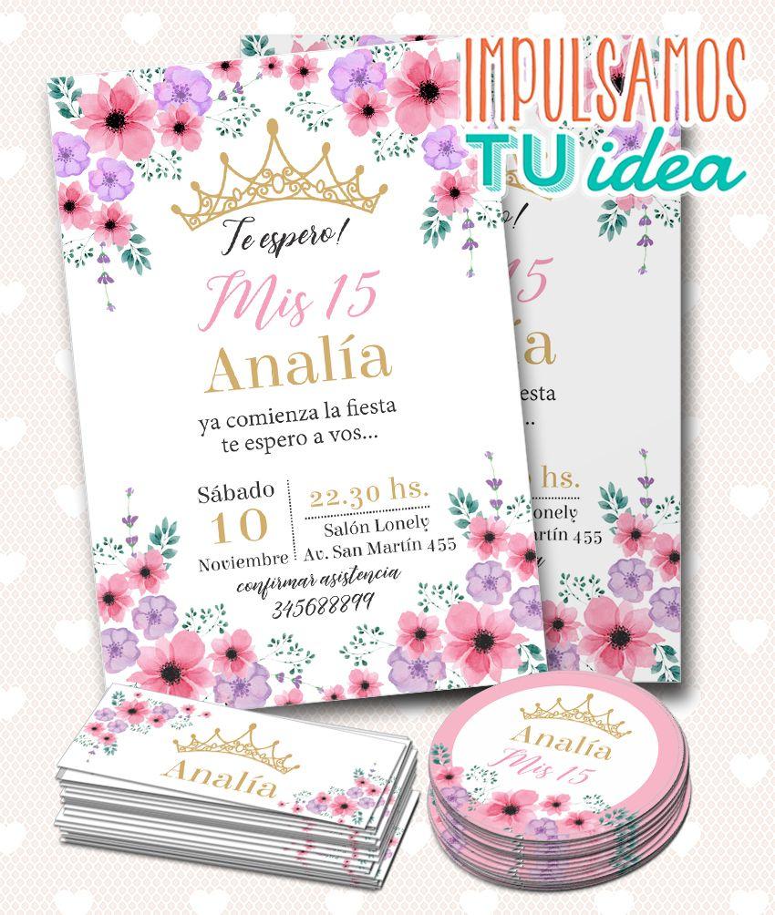 Tarjeta De 15 Con Coronita Y Flores Más Tarjetitas Para