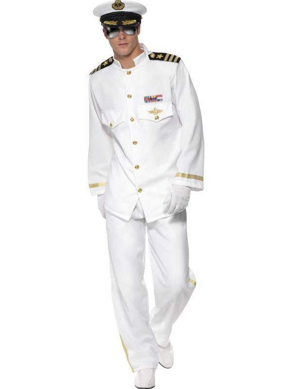 80s Sailor Navy Officer and Gentleman Captain Mens Fancy Dress Costume