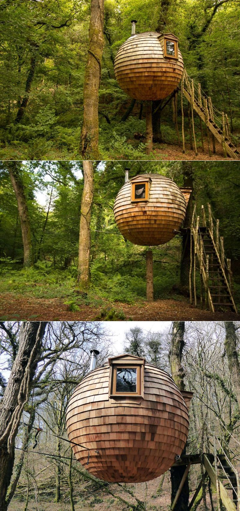 The cedar-clad treehouse pod in Cornwall, United Kingdom is one of the most unique treehouses to look out for across the world. This ball-shaped vacation cabin, named the Lost Meadow Treepod is designed to leave minimum impact on the trees while holding up the overall weight.  #treehouse #treehousehotel #treehouseresort #getaway