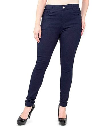 3d58993a3b9d3 This Navy Fleece-Lined Super Stretch Jeggings - Plus is perfect!  #zulilyfinds