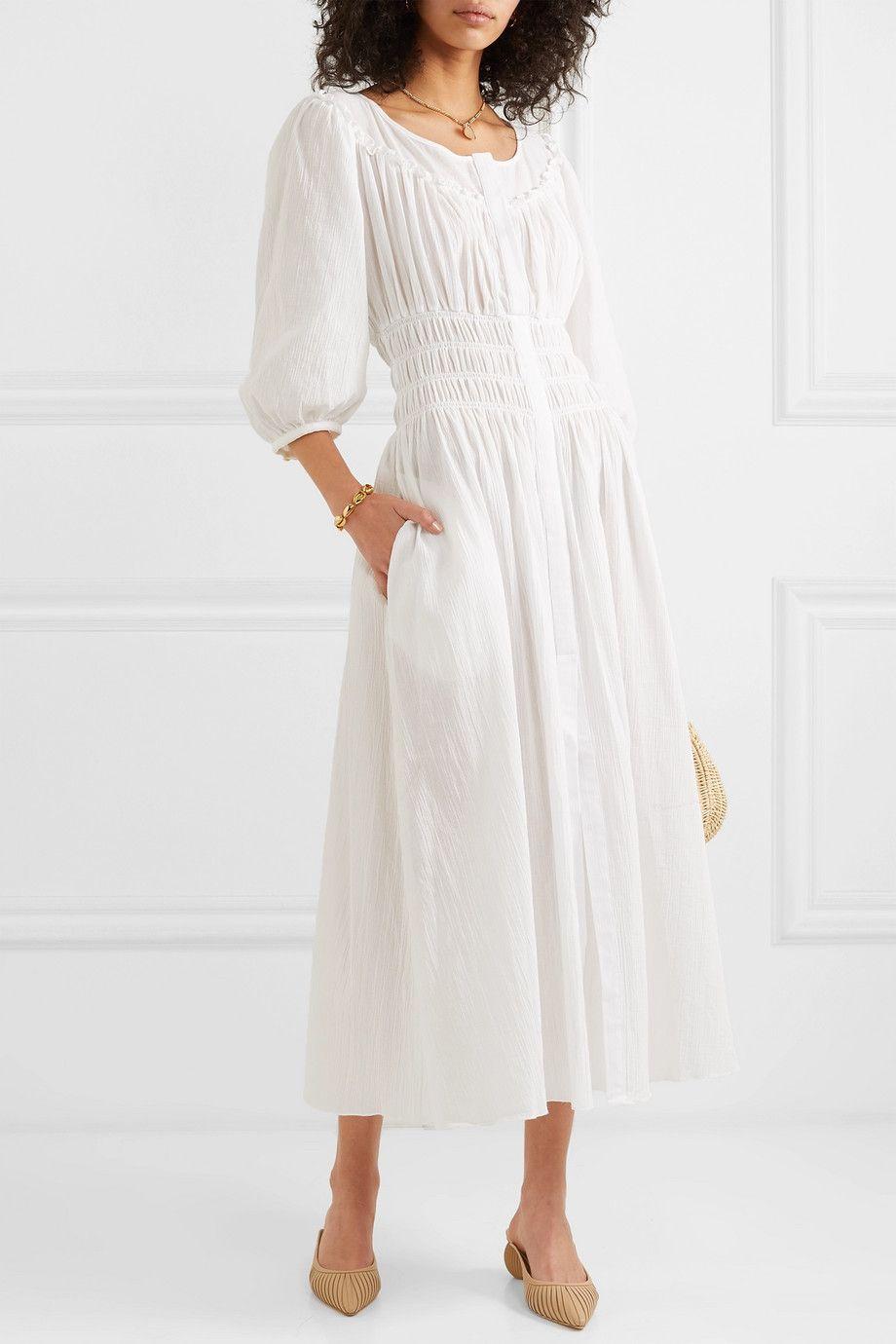 White Arabella Shirred Cotton Gauze Midi Dress Three Graces London White Flowy Dress Dresses White Dress Summer [ 1380 x 920 Pixel ]