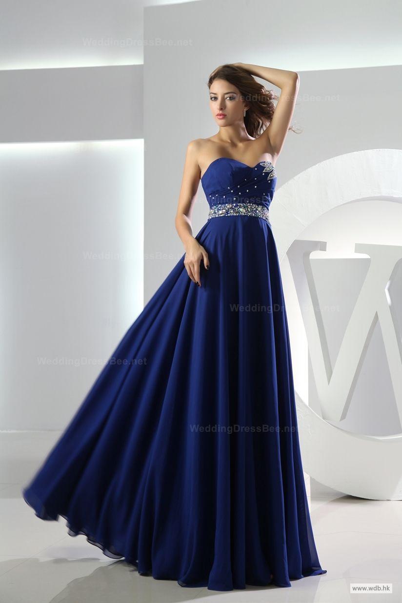 Wedding dress strapless floor length chiffon bridesmaid dress