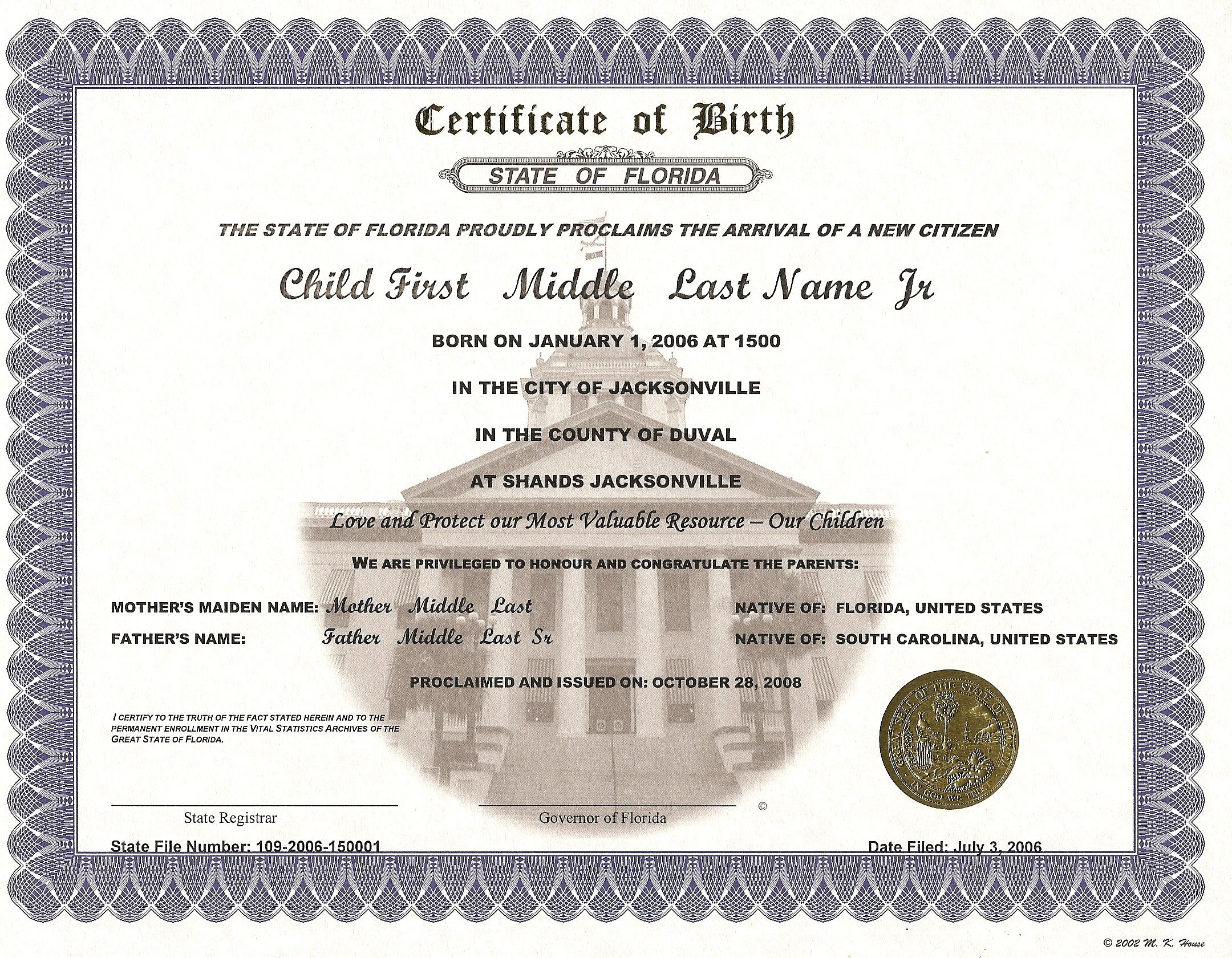 Wisconsin Birth Certificate 1983