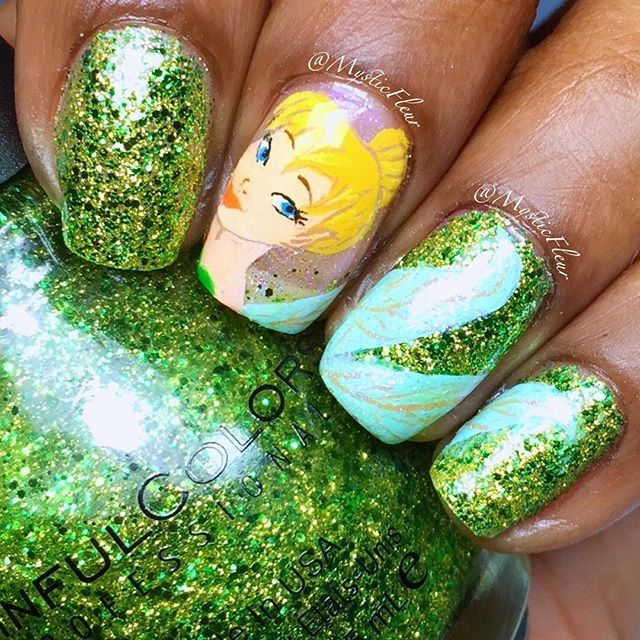 Tinkerbell Nails: Tinker Bell Nail Art! Wow What An Art #nailart #tinkerbell