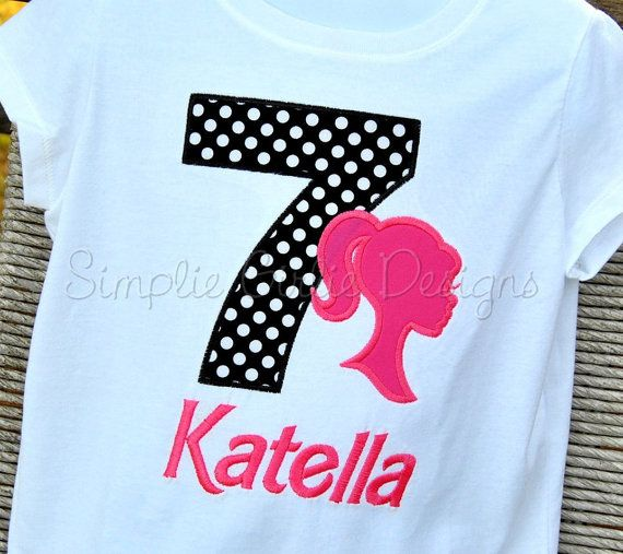 6303adb84 Barbie silhouette birthday shirt or onesie. Personalized. Sizes 12m to  girl's 10/12. Can customize to party colors.