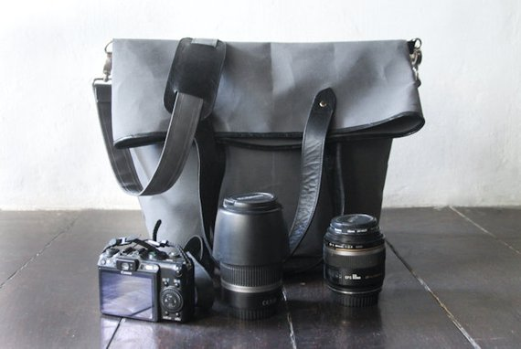 f54e791297 Dslr Fold Over Camera Bag with Insert - waxed canvas messenger - tote bag - waxed  canvas with black