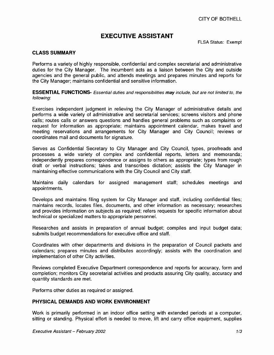 Hr assistant Job Description Resume Beautiful Executive