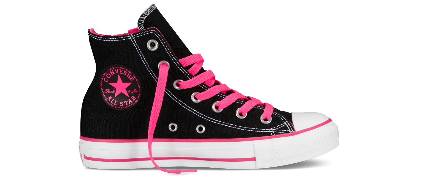 bbf9c804c83 Pink black and white Converse