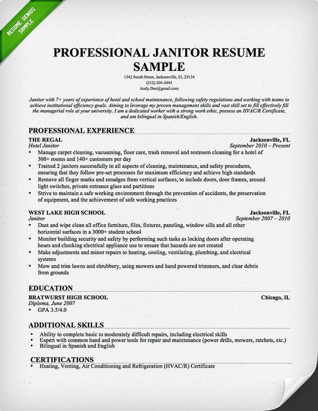 Skill Set Resume Professional Janitor Resume Downloadable Template  Free .