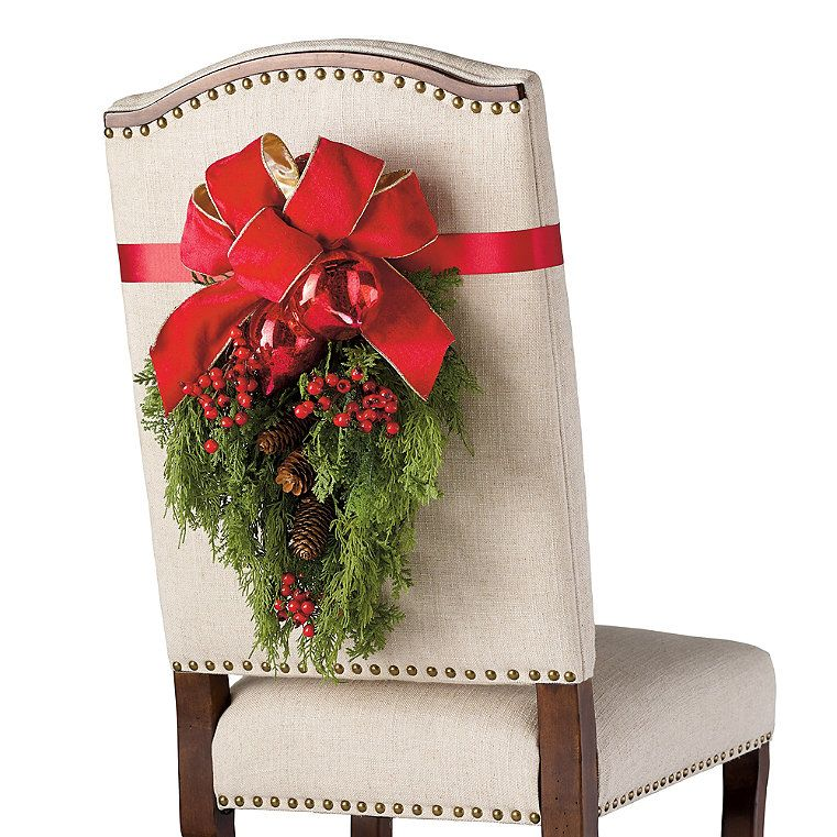 Christmas Cheer Chair Back Swags Set Of Two Frontgate In 2020 Christmas Table Settings Christmas Decorations Rustic Christmas Chair