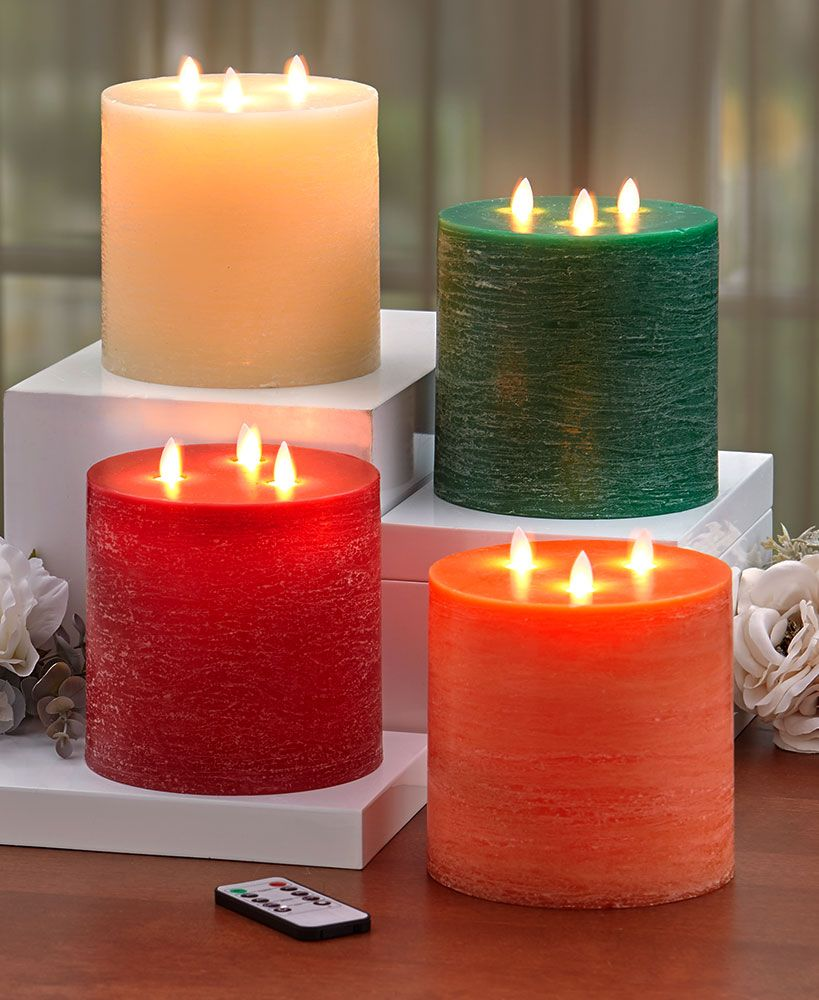 3Wick LED Scented Candle with Remote Candles, Candle