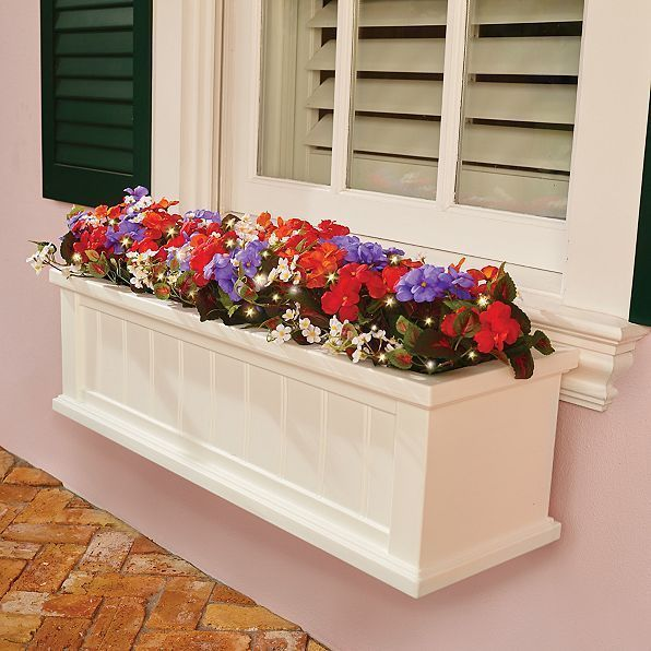 Window Box Flower Filler Lighted Faux