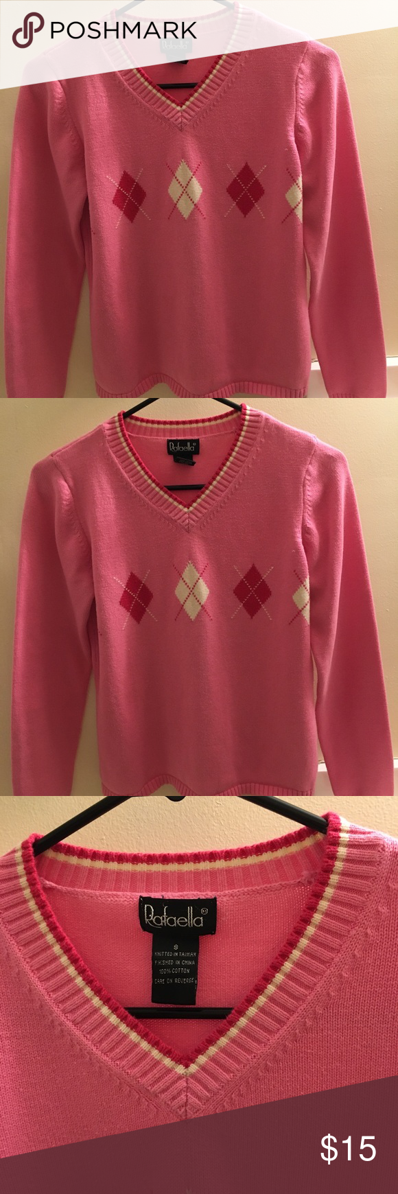 04b223041d80d EUC RAFAELA PINK TOP Pink sweater with cute design nice and warm Rafaella  Tops Blouses Diseños