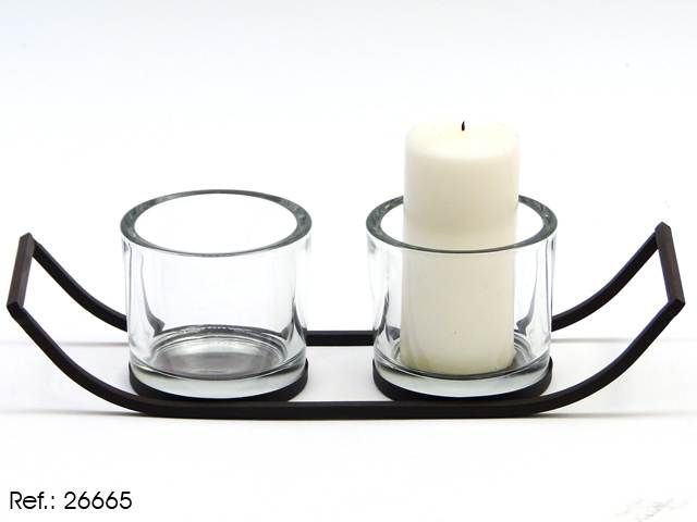 Portavelas de hierro con dos vasos de cristal herreria - Portavelas de hierro ...