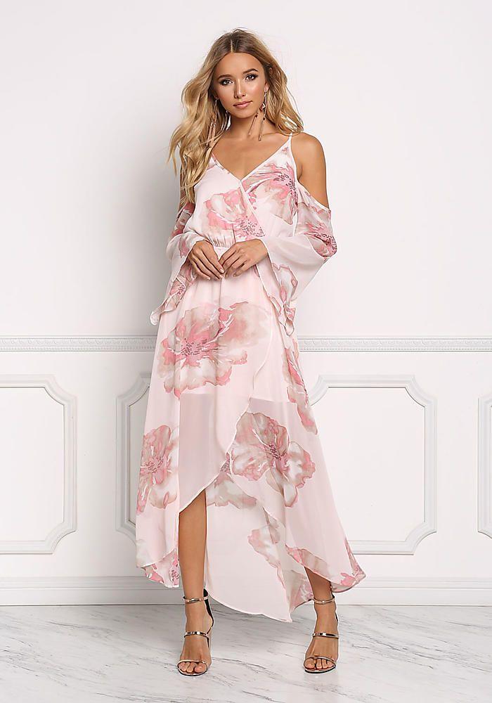 Boutique Dresses Shoulder Floral Dress Cold Chiffon Maxi Blush p7UwSvOq