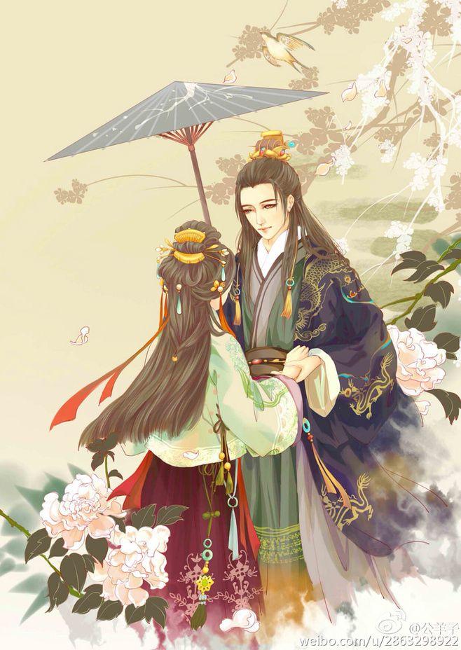 арт, зонт, влюбленные, парень и девушка   Самурай, Аниме