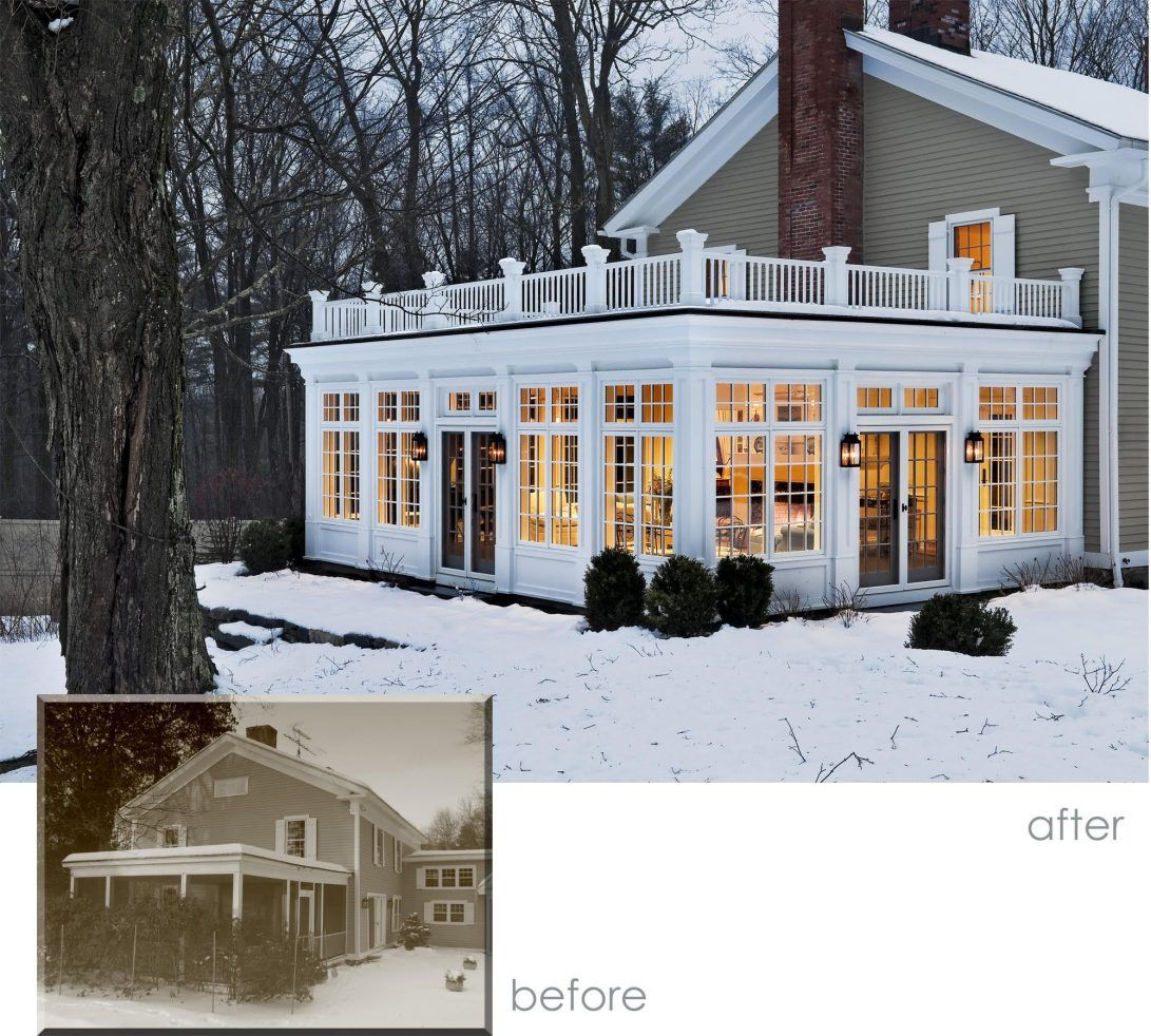 Sunroom Before And After Farmhouse Addition In The Snow